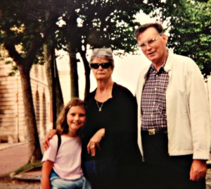 My grandparents and I on a trip to Europe.